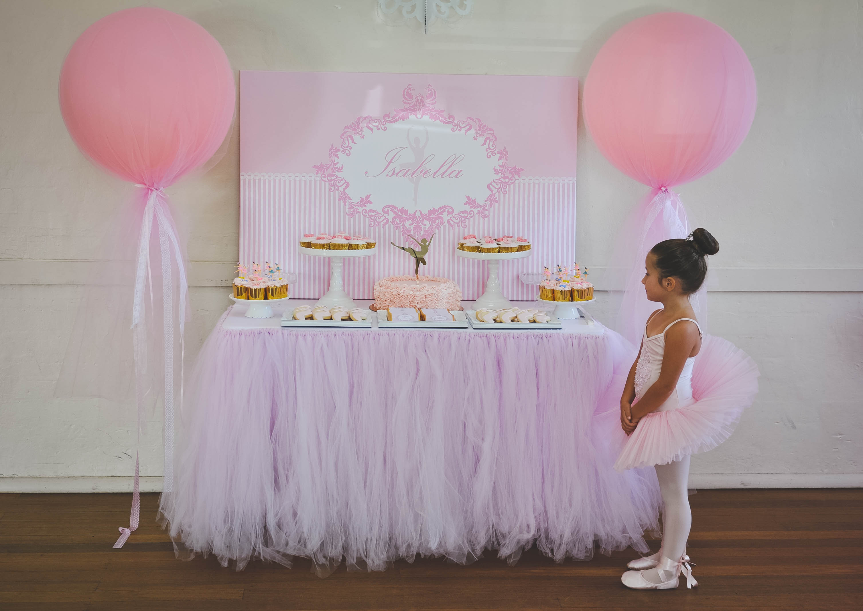 Homemade ballet party dessert table