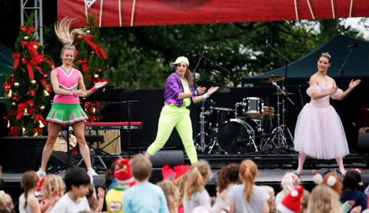 3 Dancing Queen Party Characters performing on stage